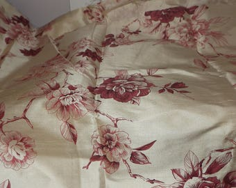 Sale hand printed red toile silk Bedale toile fabric James Brindley