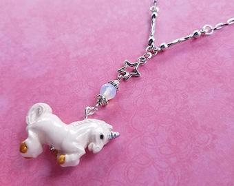 Unicorn & Moonstone Necklace / Real Moonstone Necklace / Ceramic Unicorn / Geek Jewelry / Unicorn Jewelry / Holiday Gift