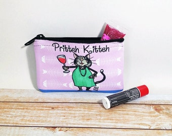 Pretty Kitty Coin Purse Change Pouch Wallet Pritteh Kitteh Cat and Wine Id Holder Makeup Bag with Zipper Lavender
