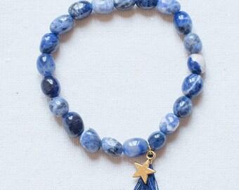 Malabeads gemstones - Yoga - meditation Bracelet - Collection Bracelet * Malabeads * Sodalite and gold star