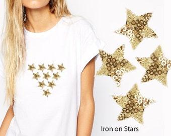 12 pcs Iron On STARS Patch Applique for DIY Fashion Crafts, Star Applique Design