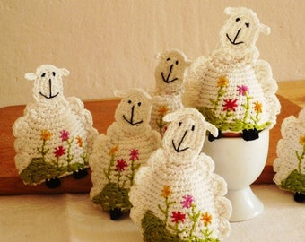 Sheep Egg Warmers - Gift for Sheep Lovers - Crochet Cozies - Lamb Egg Cozy - Country Kitchen Decor - Gift for Farmers - Wedding Gift