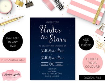 Stars night sky etsy digital download under the stars wedding engagement birthday anniversary invitation dark blue white stary sky night sky stopboris Images