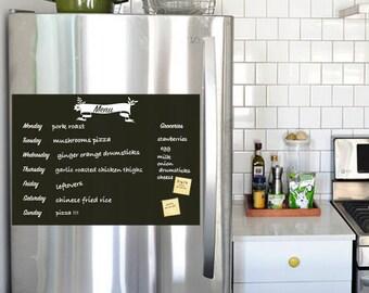 Meal Planner Chalkboard Decal, Meal Plan Decal, Menu Decal, Vinyl Wall Decal, Refrigerator Decal, Weekly Menu Planner
