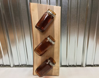 Amber Mason Jar Holder made from Live Edge Sugar Maple wood