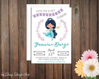 Baby Shower Invitation - Princess Jasmine and Laurel in Watercolor Style - Aladdin Arabian Princess