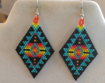 White Black And Teal Native American Style Beaded Earrings