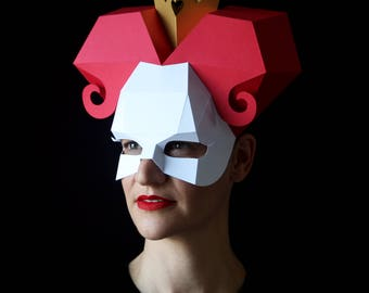 QUEEN of Hearts Mask - Make your own paper mask with this instant download template