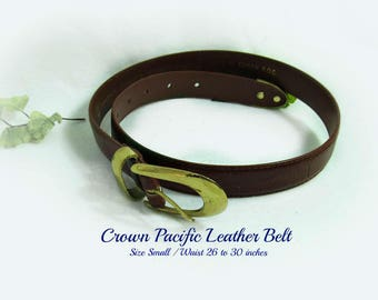 women's leather belt, brown leather belt, gold buckle belt, women's belt,  dress belt, small belt - waist 26 to 30- # B 22