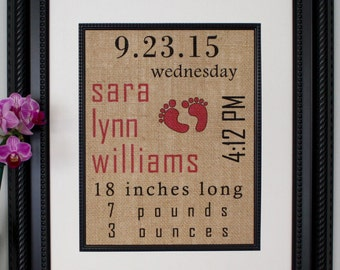 Personalized Burlap Baby Print, Baby Statistics, Color Subway Art, Baby Birth Information, Personalized Wall Art, Baby Nursery