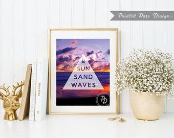 Art Print - Sun Sand Waves Summer Beach Digital Printable Home Décor Wall Frame Art Gift 8 x 10