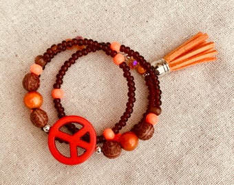 Bohemian Peace Sign Tassel Bracelet / Orange Peace Sign Yoga WrapAround Bracelet / Peace Sign Orange Tassel Clasp Free Bracelet