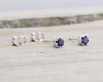 Sapphire Stud Earrings September Birthstone Earrings Blue Earrings Tiny Blue Earrings September Birthday Gift Sapphire Birthstone Jewelry