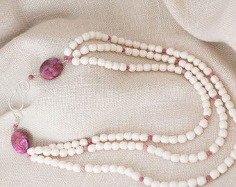Triple Stand Swarovski Glass Pearl and Pink Crazy Lace Agate Necklace