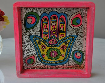 Handcrafted Hamsa coin tray, all purpose tray, key tray, change tray, nightstand small tray, wood tray