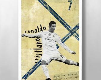 Cristiano Ronaldo Print, Real Madrid FC Poster, Football poster, Mid Century, Modernist Typography Print, Children Bedroom Art, Man Cave Art