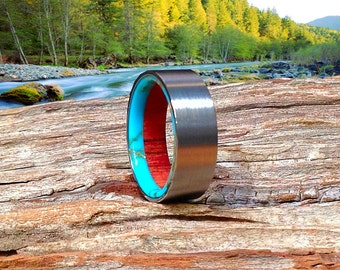 Fine Wedding Band | Mens Tungsten Wood Ring | Meticulously Handmade in Wild Cherry and Turquoise - Waterproof.
