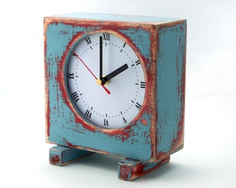 Desk clock Turquoise blue, Sky blue, Pink, Wooden Table Clock, Unique wood clock, Wedding gift, Xmas gift for her, Black Friday sale