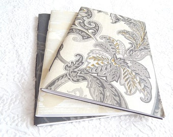 Set of 3 black gold taupe floral patterned sketchbooks, use as journal travel diary or notebook