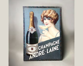 French Vintage Champagne ANDRÉ LAINÉ Advertising Cardboard - French Champagne - Art Deco Style