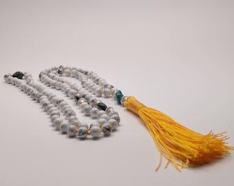 108 Howlite and Turquoise Beaded Mala, Prayer Beads, Meditation Beads, Yoga Beads
