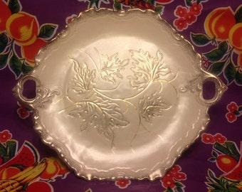 Vintage California Original ceramic serving platter with gold leaf designs and handles