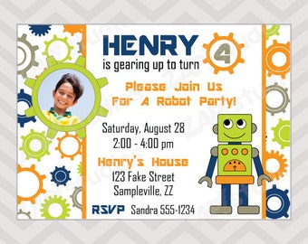 Invitation robot etsy robot party printable birthday invitation filmwisefo Gallery