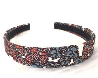 Vintage Kimono - Red Blue Hairband - Silk Headband - Japanese Hairband - Botanical Print - Kimono Fabric