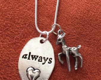 Always Doe Wizard Themed Necklace Fandom Jewelry Potterhead Gift