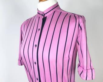 Bold pink and black striped vintage, midi dress, size 10.