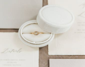 Vintage Style Oval Ring Box in Wedding Cake White Velvet For Weddings, Engagements, Popping The Question, Heirloom Storage, Gift Giving