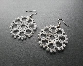 Lightweight Handmade Tatted White Snowflake Earrings – White Delicate Earrings – Tatting Lacy Earrings - Gift for her