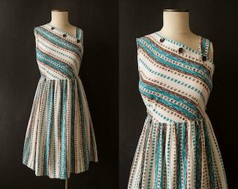 vintage 1950s dress / 50s one shoulder sundress / small-med / Coastal Dress
