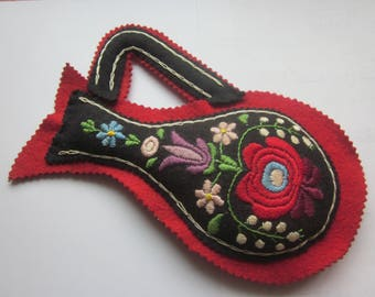 Vintage Hungarian Embroidery Flower Pot