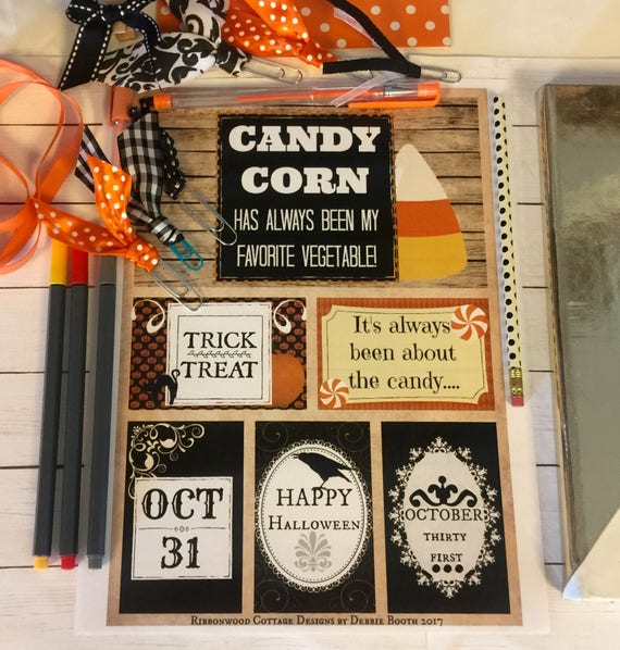 """Candy Corn and Halloween Art  Journal Cards  Planner Printable 8"""" x 10"""" Print and Cut"""