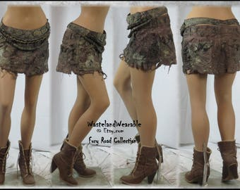 Post APOCALYPTIC SKiRT Fury Road Skirt Fallout Skirt Wasteland Skirt, post apo LARP skirt, Size 12