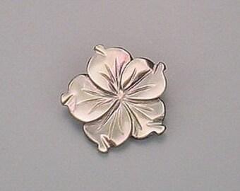 14mm carved gray shell flower gem stone gemstone