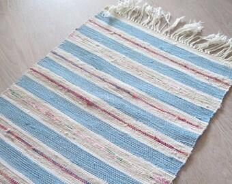 Vintage Woven Rug Rag Blue White Red Striped Swedish Small Woven Floor Runner, 112 x 40 cm / 44 x 15.7 inch,Scandinavian Home Decor #3-38
