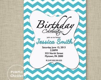 13th 30th 40th 18th Birthday Invitation Party Invite Womans Invitation Aqua Blue Cyan Chevron Printable Party invite JPEG file 14