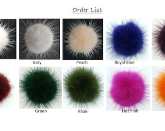 10Pieces - 40mm Mink Fur Ball - Variety Colors