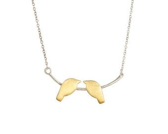 Love birds Necklace,kissing Bird necklace,Gold Birds Jewelry,Silver birds chain,minimalist bird necklace Gold pendant necklace by Taneesi