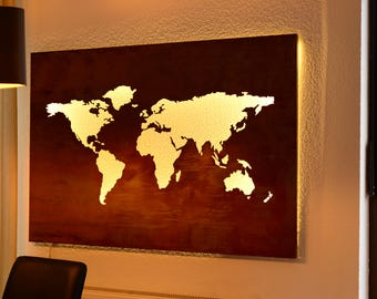 World map (120 x 80 cm) made of 1 mm steel with rust-look, LED backlight (indirect)