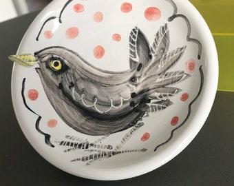 Blackbird Bowl |  Majolica Pottery