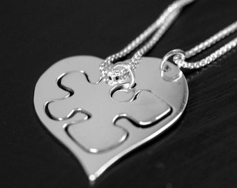 Heart with puzzle piece double necklace argentium silver sterling silver