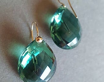 14k Solid Gold Prasiolite Green Amethyst Heart Shaped Checkerboard Faceted Simple Earrings February Birthstone Gift for Her