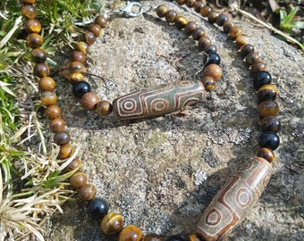 Dzi beads, unisex, necklace and bracelet set, amulet