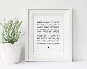 Oasis 'Wonderwall' Song Lyrics Print - Typographic Wall Art Quote - Song Lyric Print - Christmas gift, Music Gift - Personalised gift idea