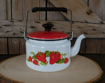 Vintage Enamel Strawberry Tea Kettle, Farm Kitchen, Farmhouse Decor, Enamel Cookware, Kettle