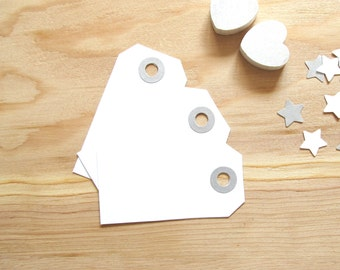 White Tags, Silver Shimmer Reinforced Holes, Gift Tags, Party Favor Tags, Weddings, Showers, Set of 20