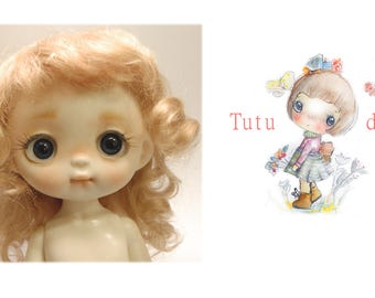 Tutu's real mohair wig,honey color,7-8 size.